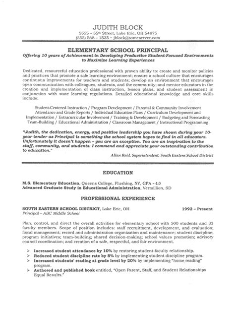 Exle Resume Elementary School To Principal School Administrator Principal S Resume Sle Educational Leadership Principal And