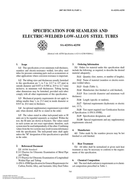 Asme Section II a Sa-423 Sa-423m | Pipe (Fluid Conveyance