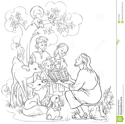 coloring pages child reading bible jesus reading the bible to children and animals coloring