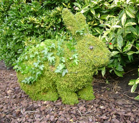 topiary rabbit frame running rabbit large mossed planted topiary frame