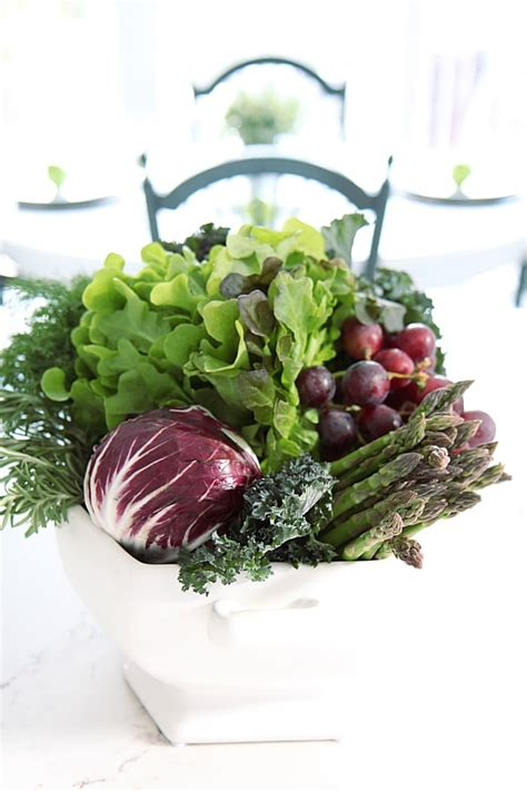 Vege Herbal easy centerpiece using vegetables fruit herbs setting for four