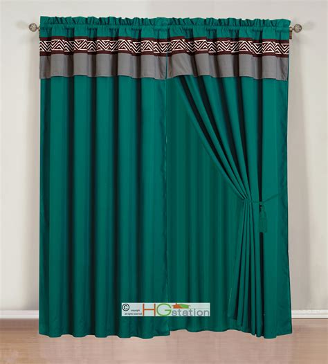Teal Valance 4 Pc Embroidery Triangle Meander Key Curtain Set