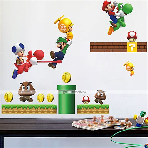 mario bros wall stickers wall stickers wall decals style mario pvc wall stickers