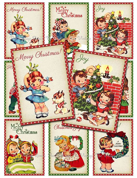 free printable retro christmas gift tags items similar to instant download digital collage sheet