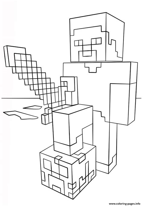 minecraft wars coloring pages minecraft steve with sword coloring pages printable
