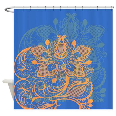 orange and blue shower curtain orange and blue lace shower curtain by glamourgirls2