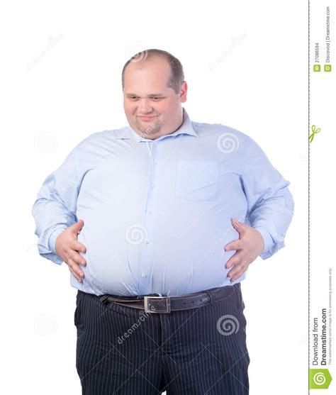 imagenes groseras de gordos hombre gordo feliz en una camisa azul imagenes de archivo