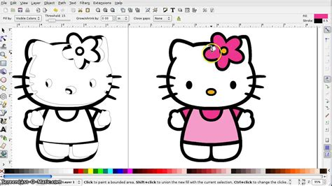 inkscape tutorial hello kitty how to create an svg from a color image in inkscape youtube