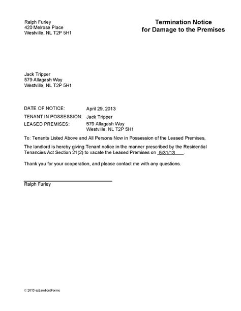 Notice Of Lease Termination Letter To Landlord Nl Termination Notice For Damage To Premises Ez Landlord