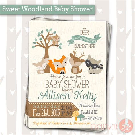 Sweet Baby Baby Shower by Sweet Woodland Baby Shower Invitation Baby Boy By Inkyinvite