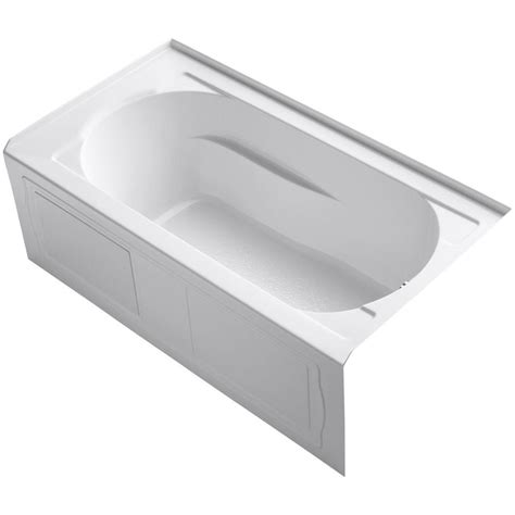 Kohler Bathtubs Home Depot kohler devonshire 5 ft reversible drain drop in acrylic soaking tub in white k 1184 0 the
