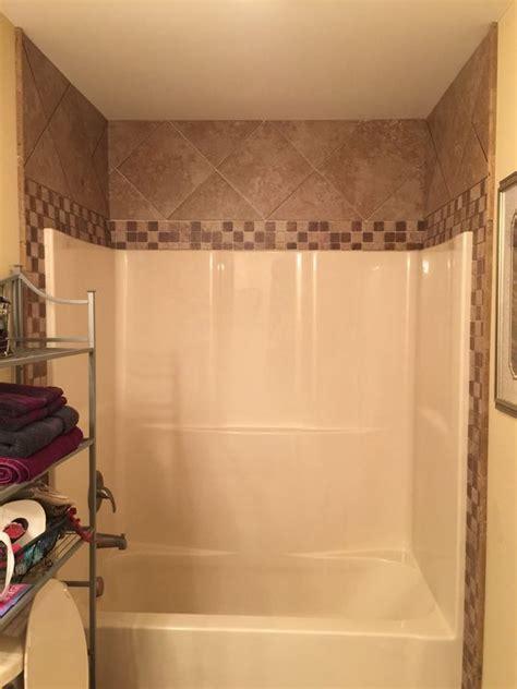 tile around fiberglass showertub bathroom pinterest