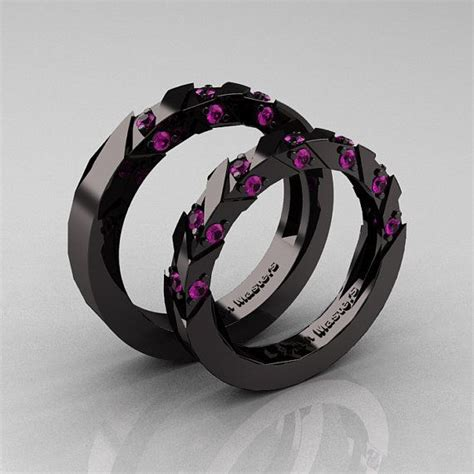 modern italian 14k black gold amethyst wedding band set
