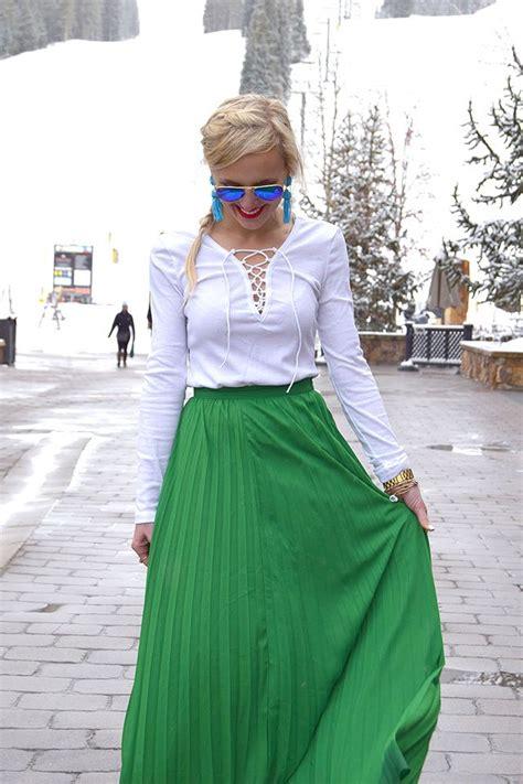 green pleated maxi skirt vandi fair