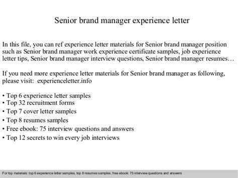 Branding Specialist Cover Letter by Senior Brand Manager Experience Letter