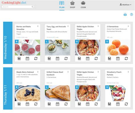 cooking light diet sle menu how to use the plan page cooking light diet