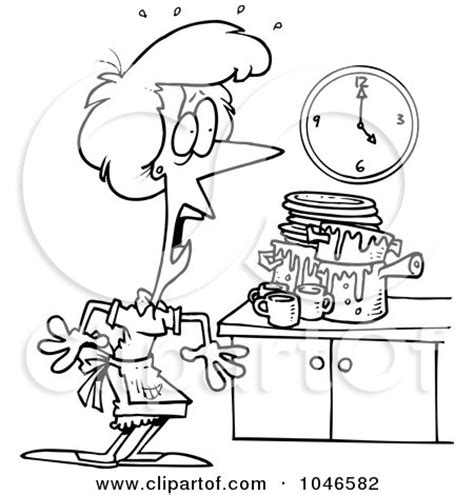 Cartoon black and white outline design of a woman panicking in a messy kitchen posters art