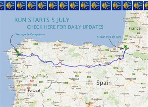 el camino pilgrimage map running camino in 20 days feat