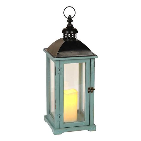 Kirkland Home Decor Locations by Turquoise Wood And Metal Led Lantern Kirklands