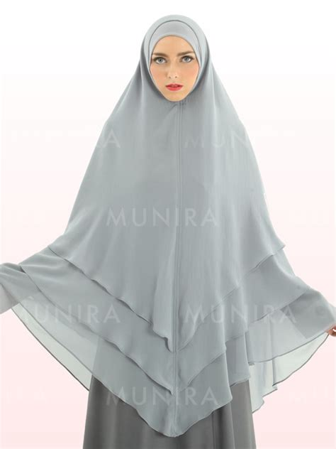 Khimar Mini Pinguin Pet Antem munira md37 silver munira ukhti modest fashion