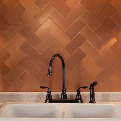 copper tiles for kitchen backsplash picture of aspect 3 quot x6 quot brushed copper grain metal