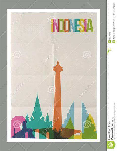 design poster indonesia travel indonesia landmarks skyline vintage poster stock