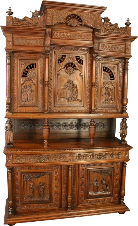 Antique Chestnut French Brittany Style Beer Wine Buffet Vintage Buffet Hutch