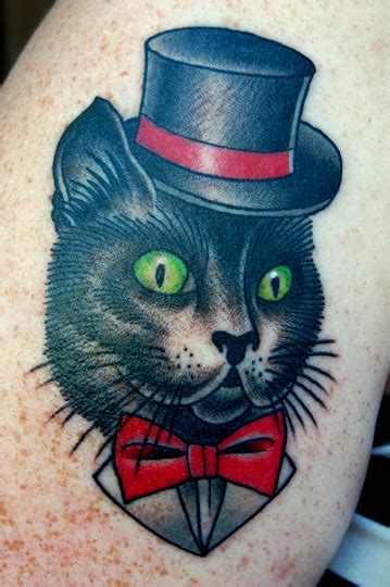 Old School Cat Tattoos Cool Images School Cat Tattoos
