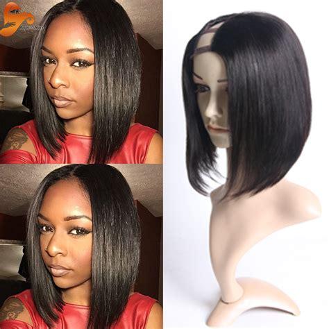 middle part bob wig best brazilian bob u part wig unprocessed virgin hair