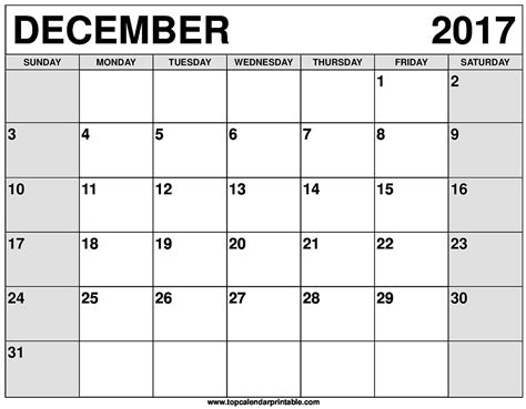 printable calendar 2017 for december december 2017 calendar printable
