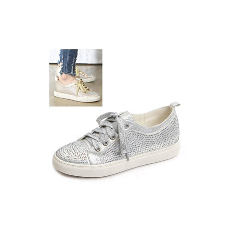 wide womens sneakers womens glitter gold silver cubic wide lace up low heel