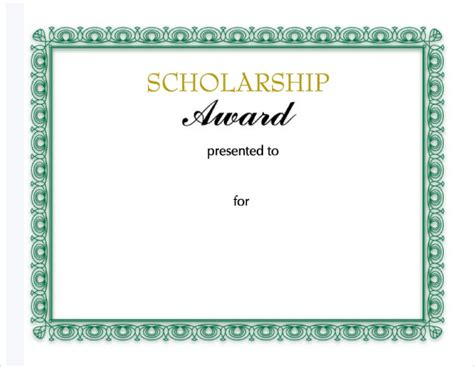 scholarship template sle scholarship certificate template 9 documents in