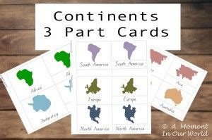 Montessori 3 Part Cards Template by Continents 3 Part Cards Friday Freebie World