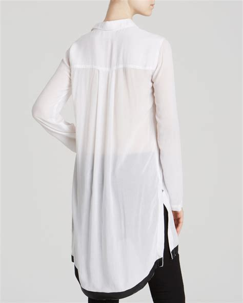 Tunic Blouse White lyst dkny sleeve tunic blouse in white