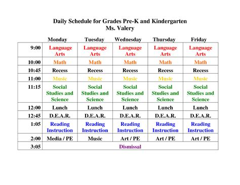 kindergarten timetable template pre k daily schedule search preschool