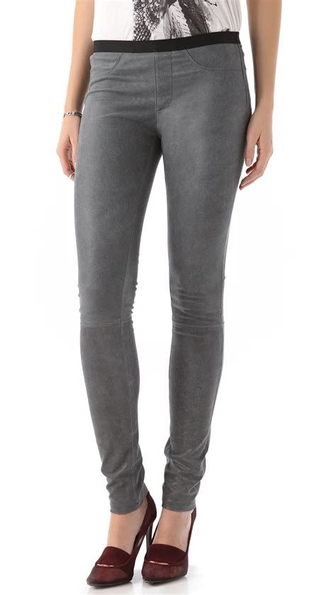 Leging Strecht helmut lang leather patina stretch in gray lyst