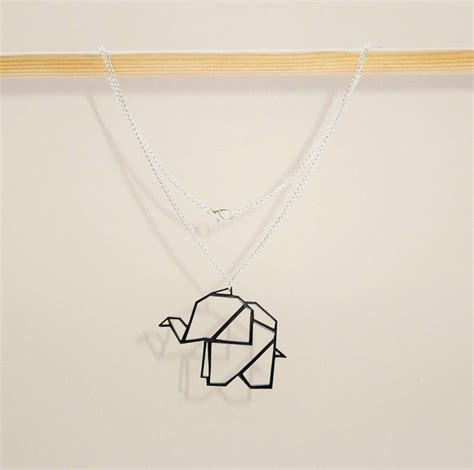 origami geometric elephant necklace by q u i e t l y c r