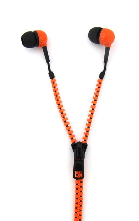 Earphone Zip thumbs up zip headphones quality sound zipper cable orange black pink earphones