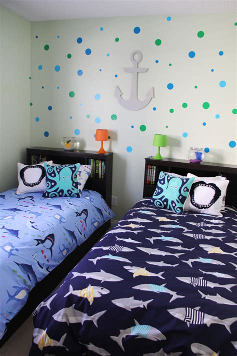 boys shark theme shared bedroom a pretty in the suburbs