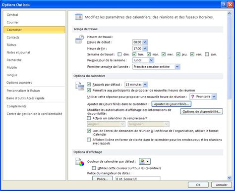 Calendrier Outlook 2010 Guide Outlook Afficher Les Jours F 233 Ri 233 S Openhost