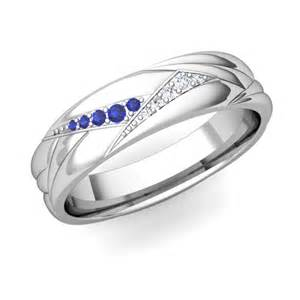 mens sapphire wedding rings wave mens wedding band in platinum sapphire ring