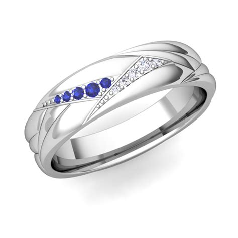 Wedding Bands With Sapphires And Diamonds by His Matching Wedding Ring Bands 18k Gold Sapphire