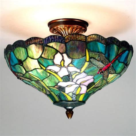 Semi flush mount tiffany lighting On WinLights.com