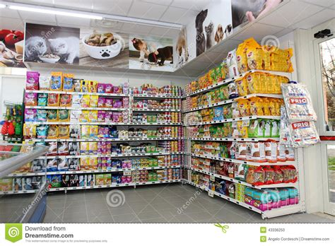 pet food store shelving shelf unit editorial image