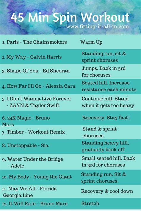 45 min spin workout playlist www fitting it all in