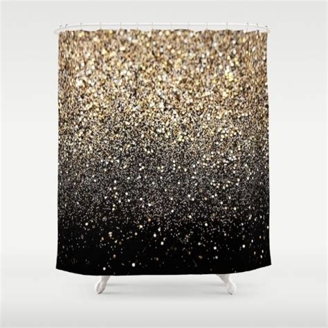 black gold shower curtain gold sparkle black gold and shower curtains on pinterest