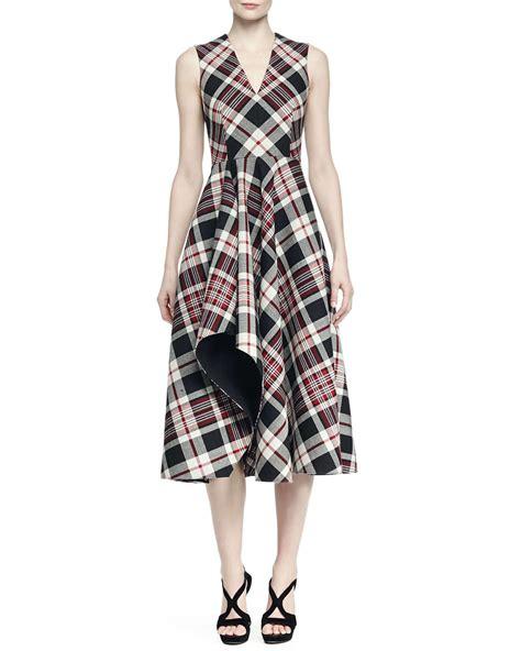 Plaid Midi Dress lyst mcqueen ruffled plaid midi dress in