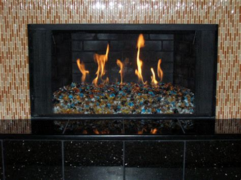 yellow pit and fireplace glass stones rocks