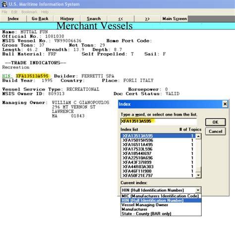 boat manufacturer identification code mic database maritime information system