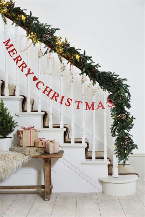 christmas banister garland best 25 christmas stairs decorations ideas on pinterest